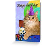 Birthday Orange Tabby Cat Greeting Card