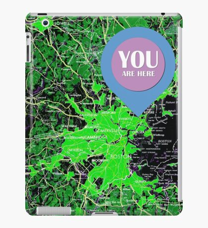 You are here, Boston old map iPad Case/Skin
