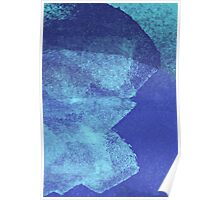 Cool, unique modern abstract blue ocean painting art design Poster