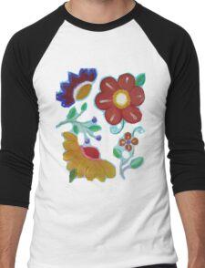Flowers, flowers acrylic painting Men's Baseball ¾ T-Shirt