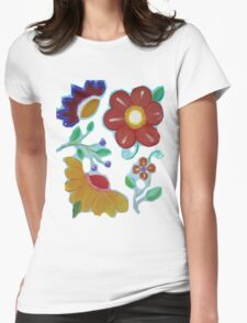 Flowers, flowers acrylic painting Womens Fitted T-Shirt