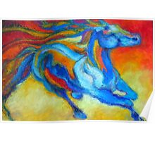 Sunset horse running outback  Poster