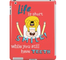 Smile! with Adventure Time (dark/ colour background version) iPad Case/Skin