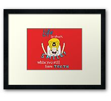 Smile! with Adventure Time (dark/ colour background version) Framed Print