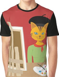 Salvador Kitty cat kitten paint artist Graphic tee vector cat design Graphic T-Shirt