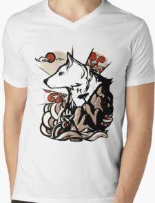 Wolf Ukiyo-e Mens V-Neck T-Shirt