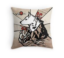 Wolf Ukiyo-e Throw Pillow