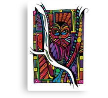 Psychedelic Color Owl on Patterns Canvas Print