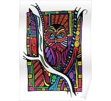 Psychedelic Color Owl on Patterns Poster