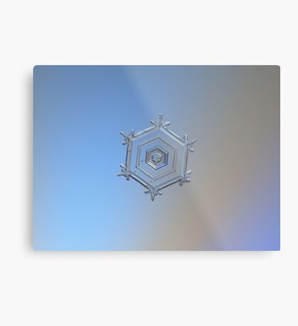 Serenity, real snowflake macro photo Metal Print
