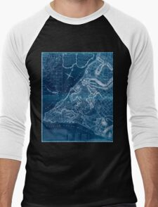 American Revolutionary War Era Maps 1750-1786 225 A plan of the city of New York & its environs to Greenwich on the north or Hudsons River and to Crown Point Inverted Men's Baseball ¾ T-Shirt