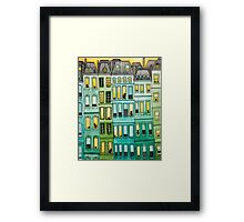 Cats in Green Townhouses Framed Print