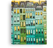 Cats in Green Townhouses Canvas Print