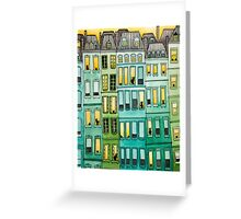 Cats in Green Townhouses Greeting Card