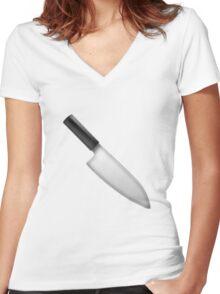 Knife Emoji Women's Fitted V-Neck T-Shirt