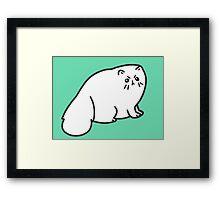 Angry Fluffy White Cat Framed Print