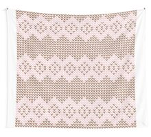 Brown and Pink Knit  Wall Tapestry