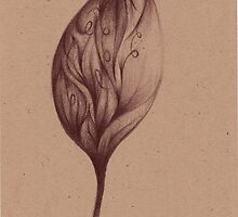 Cinnamon Leaves - Prisma Pencil Drawing by Rebecca Rees