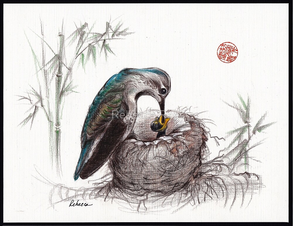 """""""A Mother's Love"""" - Mother Hummingbird and Baby by Rebecca Rees"""