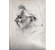 """""""The old man thinks"""" - original pencil drawing on paper Photographic Print"""