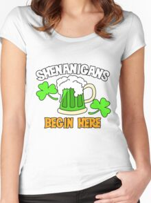 Shenanigans Begin here St. Patrick's Day humor Women's Fitted Scoop T-Shirt