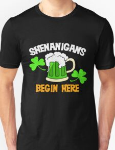 Shenanigans Begin here St. Patrick's Day humor T-Shirt