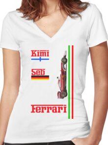Ferrari 2016: Vettel, Raikkonen Women's Fitted V-Neck T-Shirt