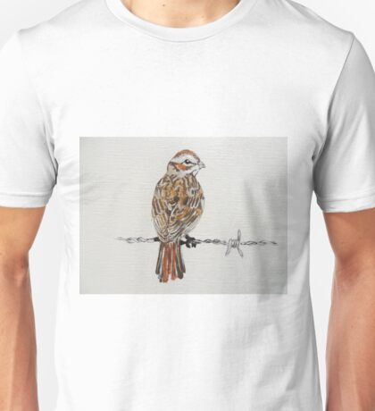 sparrow on barbed wire Unisex T-Shirt
