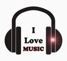 I Love Music T-Shirt - Dance Party Sticker - Rave Sticker One Piece - Short Sleeve
