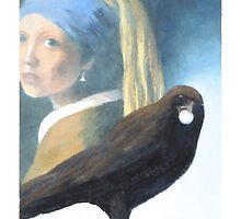 Crow with Pearl Earring by PhyllisGAndrews