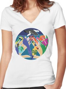 Tropical Creation Women's Fitted V-Neck T-Shirt