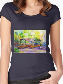 Currumbin , Cougals, Old timber Mill [Watercolour ] Women's Fitted Scoop T-Shirt