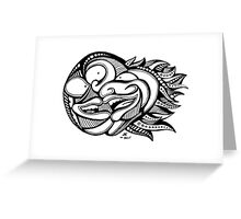 Three Black & White Faces with Cool Psychedelic Hair Greeting Card