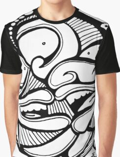 Three Black & White Faces with Cool Psychedelic Hair Graphic T-Shirt