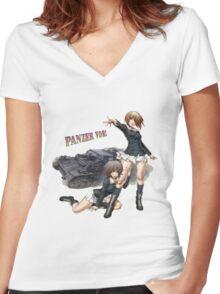 Panzer Vor! - Yukari and Miho Women's Fitted V-Neck T-Shirt