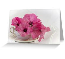 A Cup Of Pink Lavatera Flowers Greeting Card