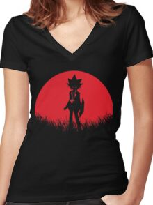Yami Yugi RedMoon Women's Fitted V-Neck T-Shirt