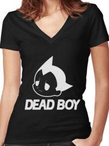 DEAD BOY BLACK Women's Fitted V-Neck T-Shirt