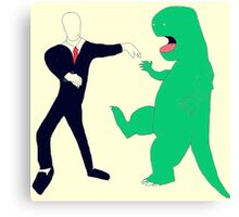 Slenderman vs. Dinosaur Canvas Print