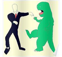 Slenderman vs. Dinosaur Poster