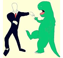 Slenderman vs. Dinosaur Photographic Print