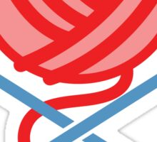Knitting Pirate crossbones in RED! Sticker