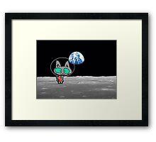 Cat On The Moon Framed Print