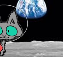 Cat On The Moon Sticker