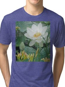 White Lotus in Lake - Tee for Flower Lovers, Phone cases Tri-blend T-Shirt