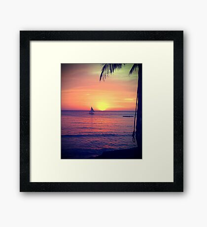 Sunset on White Beach - Boracay Island Framed Print
