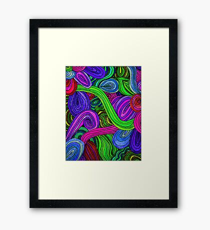 Psychedelic Lines (Green) Framed Print