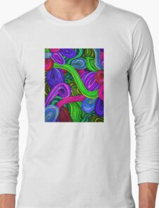 Psychedelic Lines (Green) Long Sleeve T-Shirt