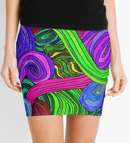 Psychedelic Lines (Green) Mini Skirt