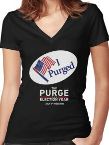 The Purge Election Year I Purged Women's Fitted V-Neck T-Shirt